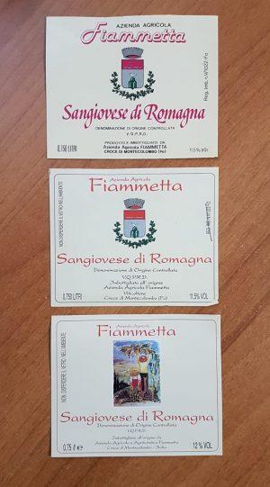 Etichette storiche degli anni 70-80 del vino Sangiovese Unico di Cantina Fiammeta