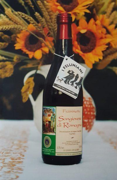 Etichetta storica degli anni 90 del vino Sangiovese Unico di Cantina Fiammeta